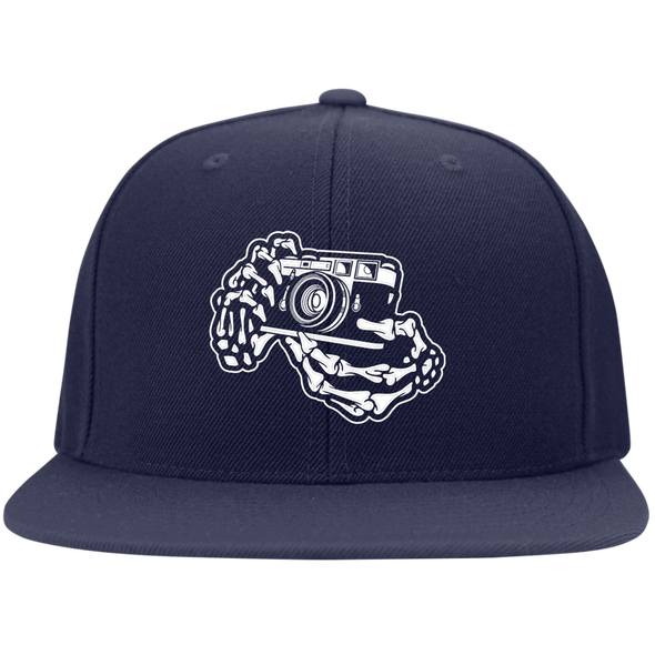 Skeleton Hands Rangefinder Camera Flat Bill High-Profile Snapback Hat - Shoot Film Co.