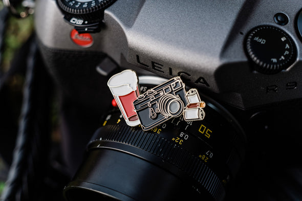 Beers & Cameras Enamel Lapel Pin - Shoot Film Co.