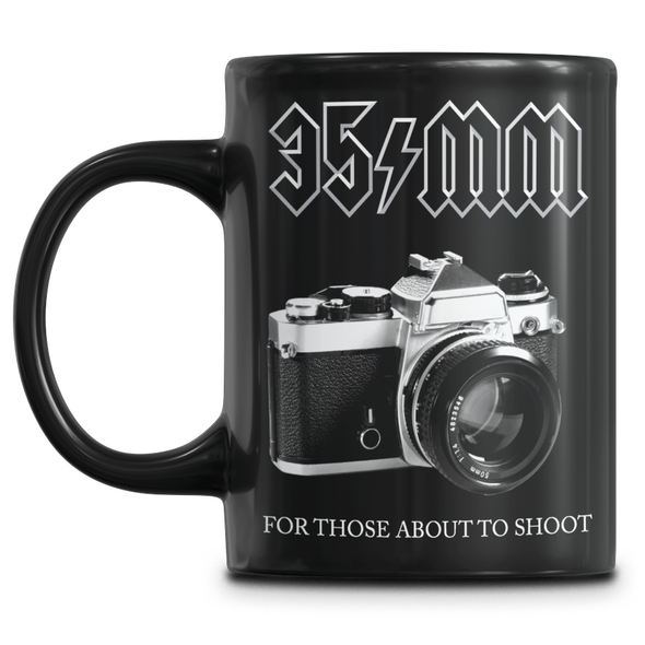 35mm For Those About to Shoot ACDC Parody Mug - Shoot Film Co.