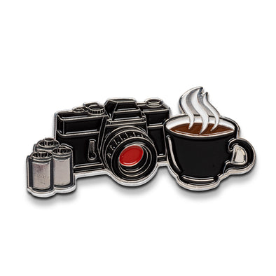Coffee & Camera Enamel Lapel Pin - Shoot Film Co.