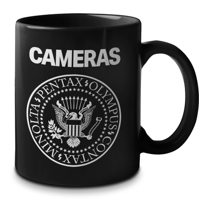 "Cameras Underdog Brands ""Ramones"" Style 11 oz. Black Ceramic Mug - Shoot Film Co."