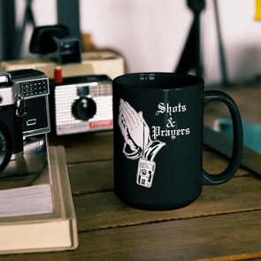 Shots and Prayers 15 oz. Black Mug - Shoot Film Co.