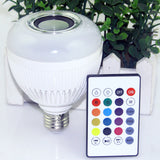 Wireless bluetooth 12W LED speaker bulb Audio Speaker E27 Colorful RGBW music playing & Lighting With 24 Keys IR remote Control
