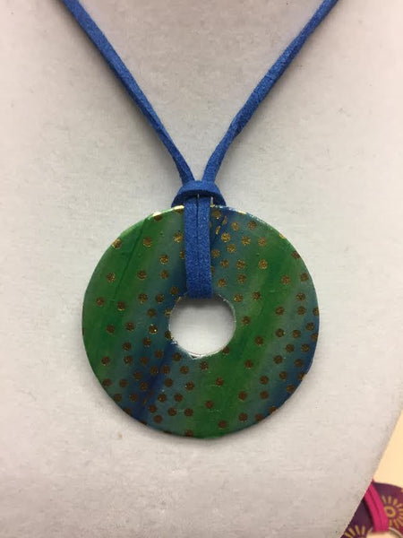 Blue Rain Handmade Blue Green and Gold Washer Necklace