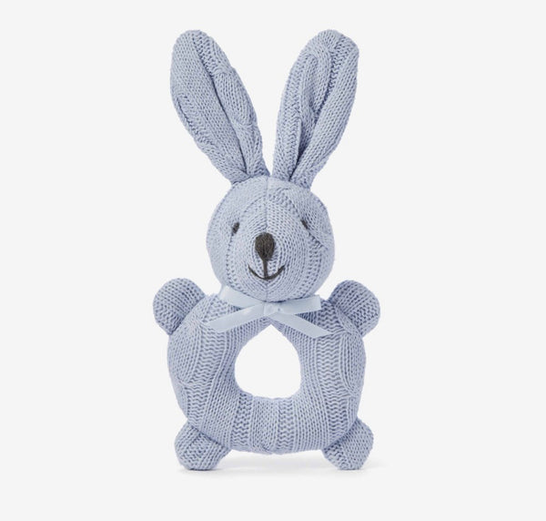 Cable Knit Bunny Rattle- Blue