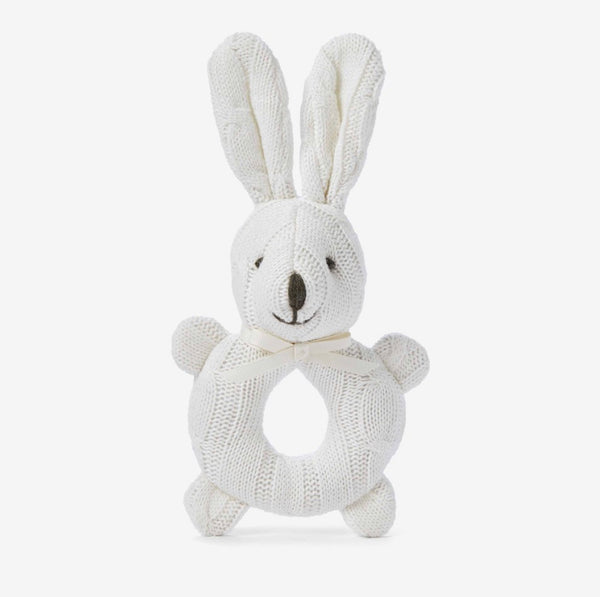 Cable Knit Bunny Rattle- Ivory