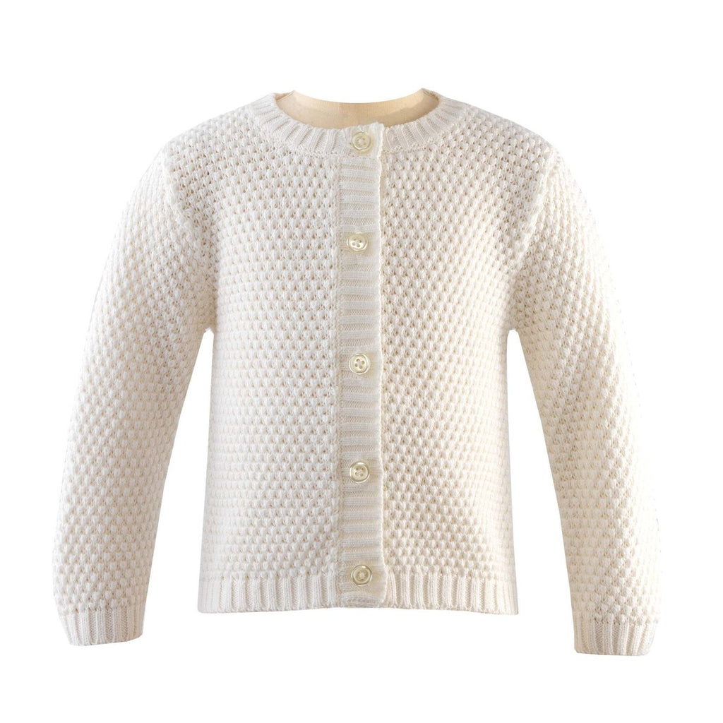 Round Neck Moss Stitch Cardigan- Ivory - Blue Bonnet