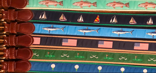 Canvas Belt w/Leather Tabs- Sailboats on Kelly Green