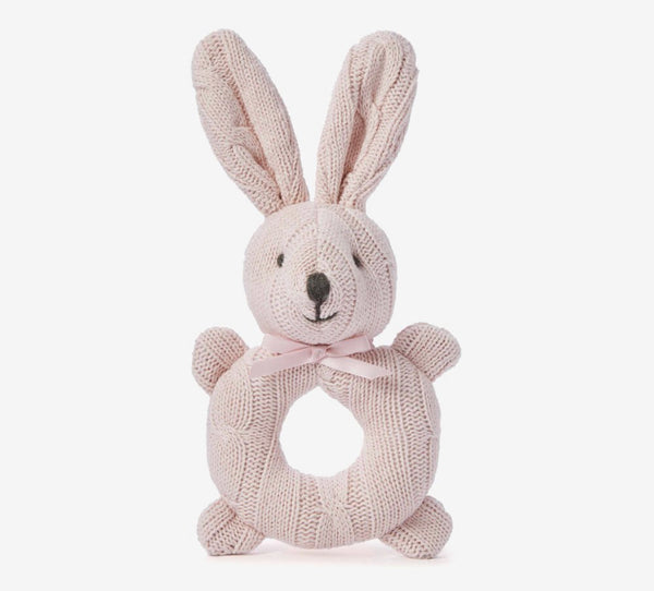 Cable Knit Bunny Rattle- Pink