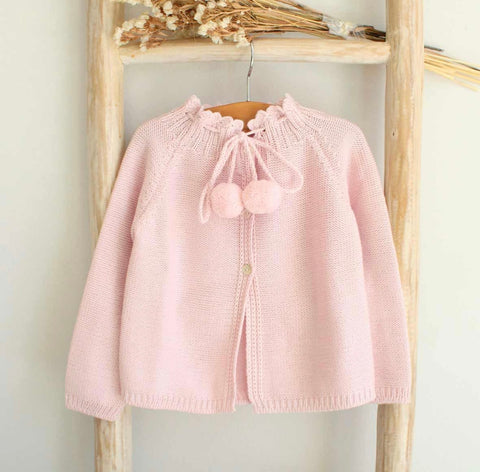 Pom Pom Cardigan- Dusty Pink