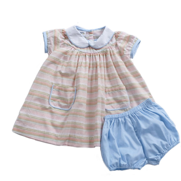Hattie Pocket Dress- Ice Cream Multi Stripe - Blue Bonnet