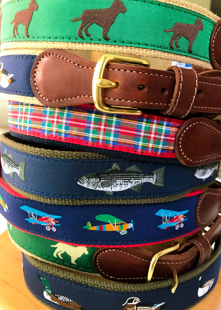 Canvas Belts with Leather Tabs