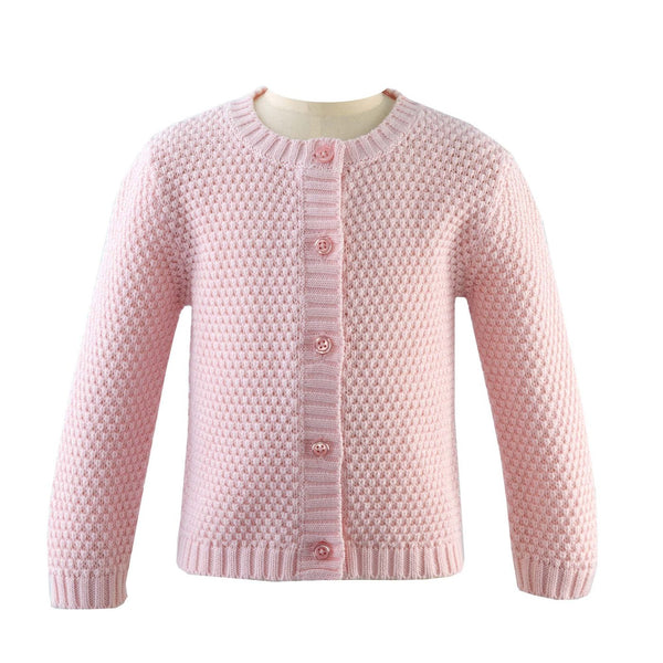 Round Neck Moss Stitch Cardigan- Pink - Blue Bonnet
