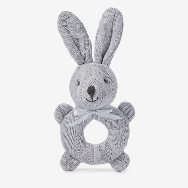 Cable Knit Bunny Rattle- Grey