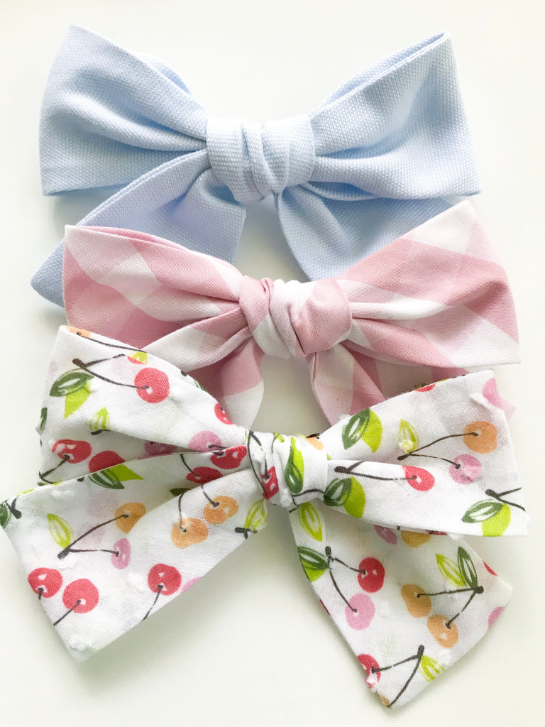 Hand Tied Bow- Cheery Cherry Cherry Print - Blue Bonnet