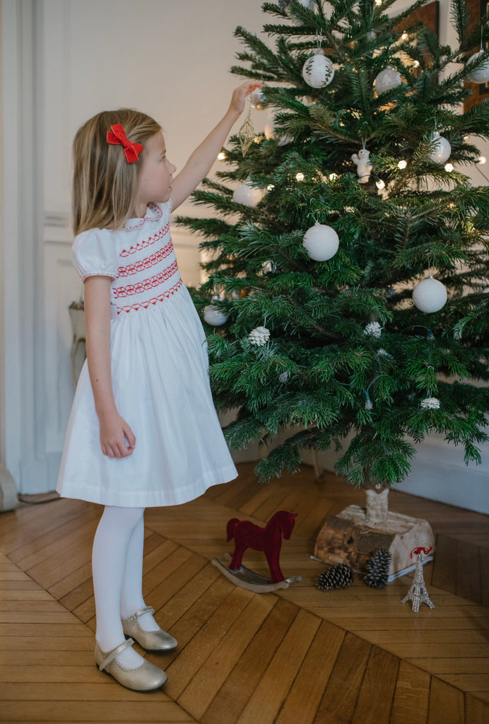 Ariel Dress- Red Smocking