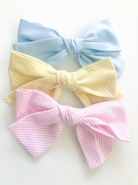 Hand Tied Bow- Ice Cream Pink Stripe - Blue Bonnet