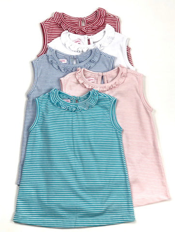 Fitted Pima Ruffle Top- Pink Candy Stripe *PREORDER*
