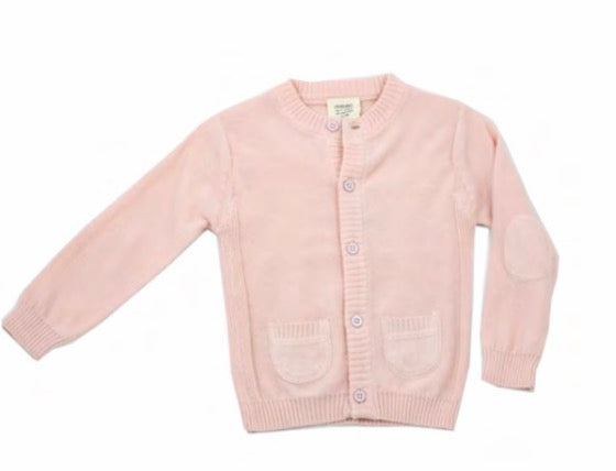 Milan Flat Knit Button Front Cardigan- Blush - Blue Bonnet
