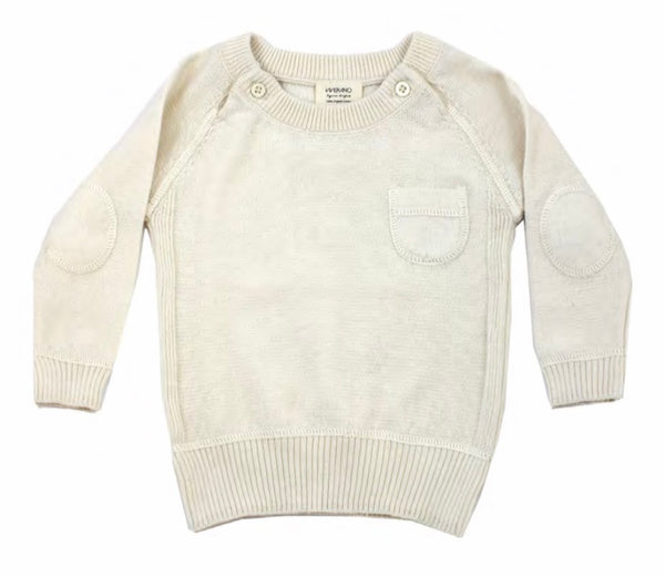 Milan Flat Knit Raglan Pullover with Elbow Patch - Blue Bonnet