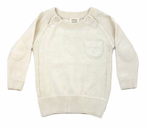 Milan Flat Knit Raglan Pullover with Elbow Patch