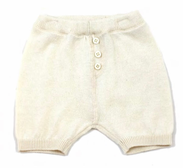 Milan Flat Knit Shorts with Pocket- Cream - Blue Bonnet