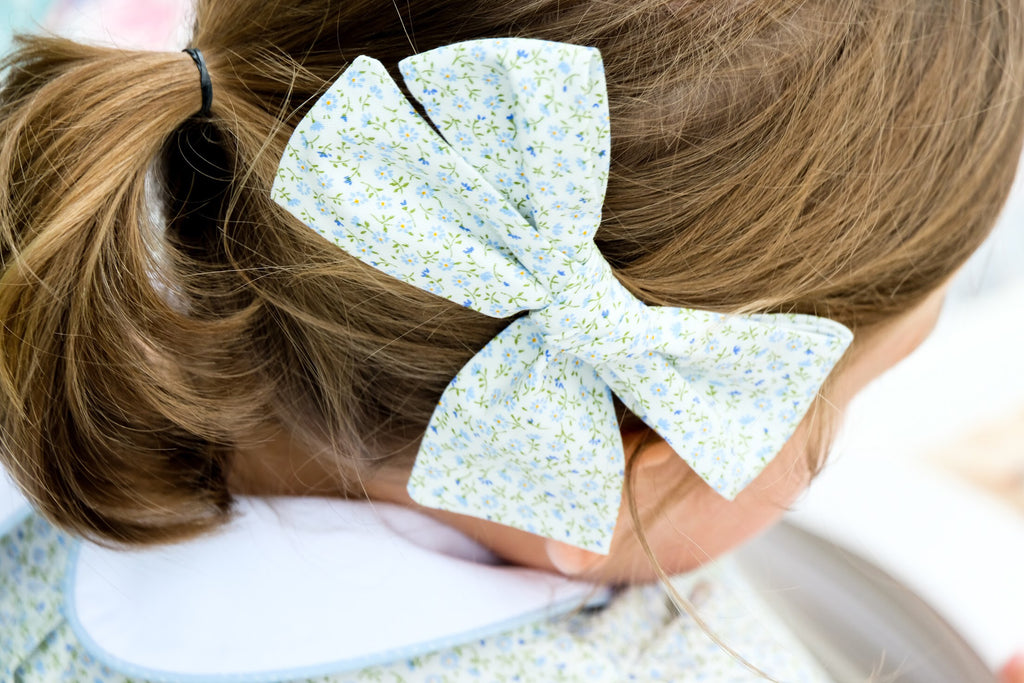 Blue Floral Hairbows - Blue Bonnet