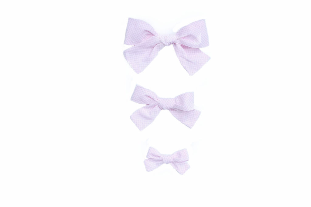 Pink Windowpane Hairbows - Blue Bonnet