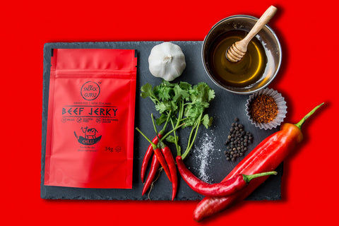 singapore, paleo, jerky, protein, snack, chilli, healthy