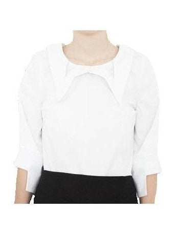 Solid Blouse with Geometric Neckline - Chateau Hi