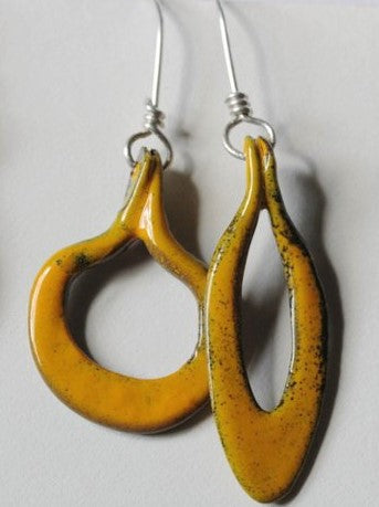 Glass Enamel Asymmetrical  Waterdrop Earrings - Chateau Hi