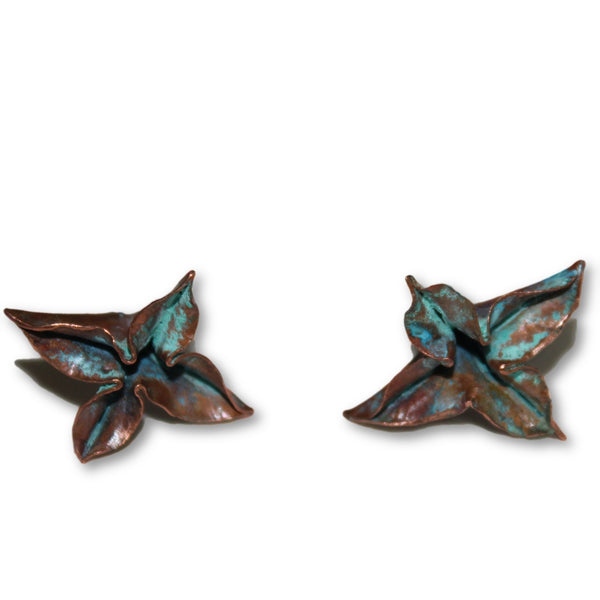 Fold Formed Verdigris Patina Flower Earrings - Chateau Hi