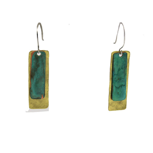 Aged Patina & Brass Dangle Earrings