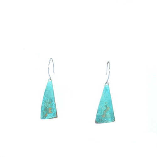 Brass Triangle Patina Earrings