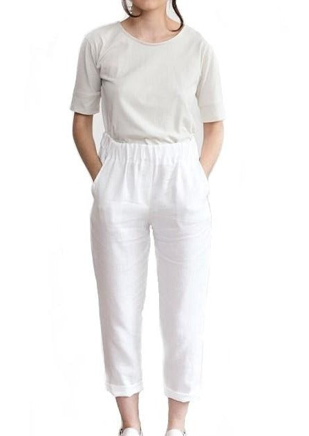 Washed Linen Trousers - Chateau Hi