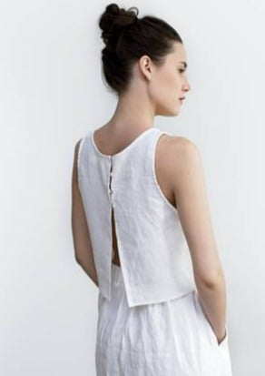 Washed Linen Crop Top - Chateau Hi