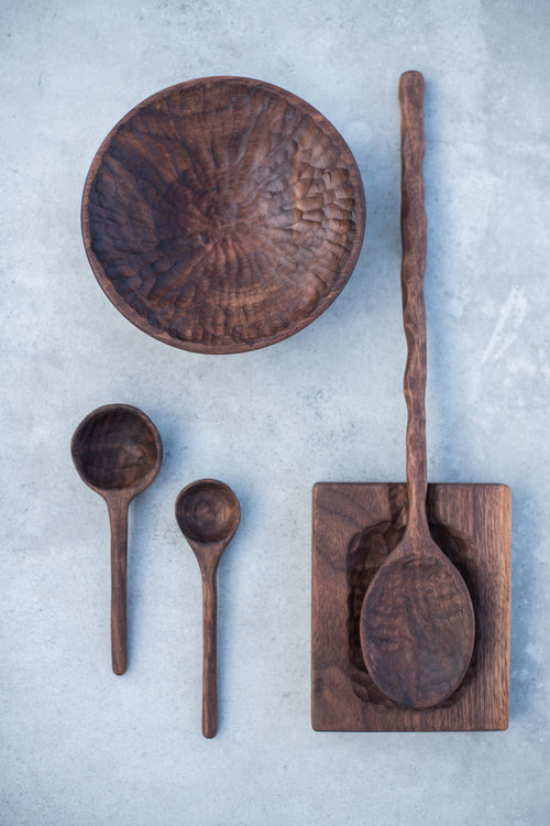 Hand Carved Wooden Spoon Dish in Walnut - Chateau Hi