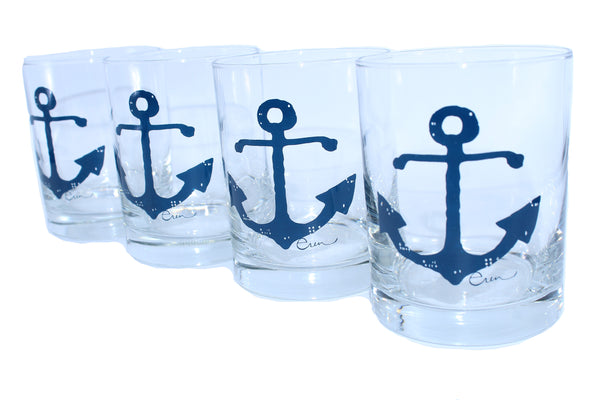 SEt of Four Silk Screen Rock Glasses Anchors Erin Flett