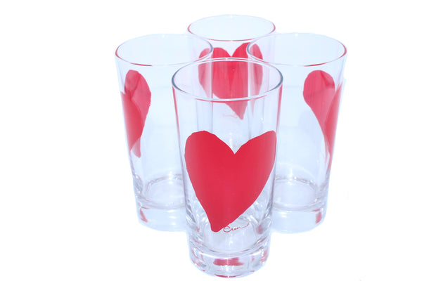 Set of  Four Silk Screen Juice Glasses Heart