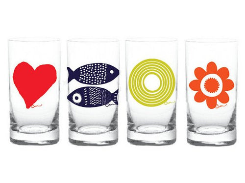 Set of  Four Silk Screen Juice Glasses Tuna Heart Sun Daisy