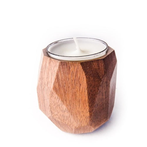 Faceted tea light candle holder walnut