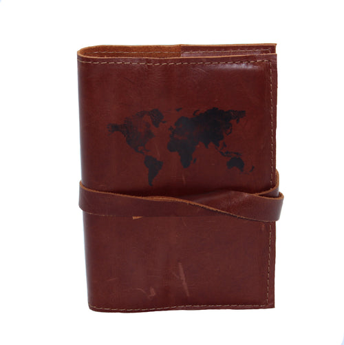 World Map Leather Journal - Chateau Hi