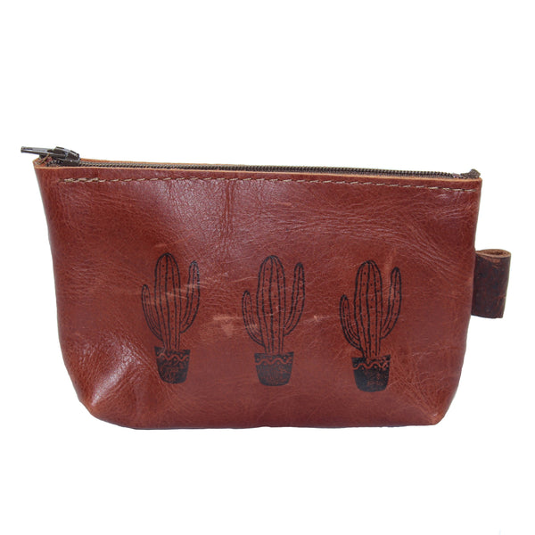 Cactus Print Leather Pouch - Chateau Hi