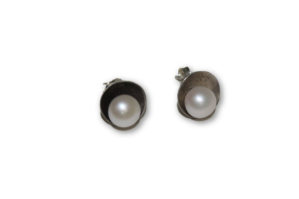 Pearls and Sterling Domed Disk Earrings - Chateau Hi