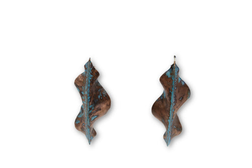 Leaf Veridgris Copper Fold Formed Earrings - Chateau Hi