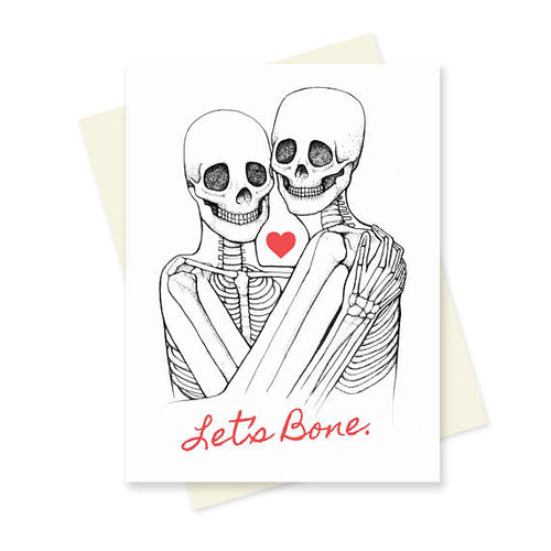 Let's Bone skeletons hugging greeting card for lovers