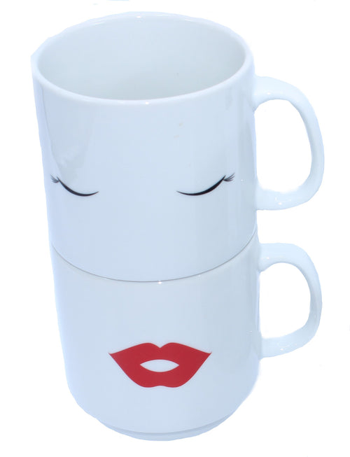 Eyes and Lips Stackable Coffee Cups