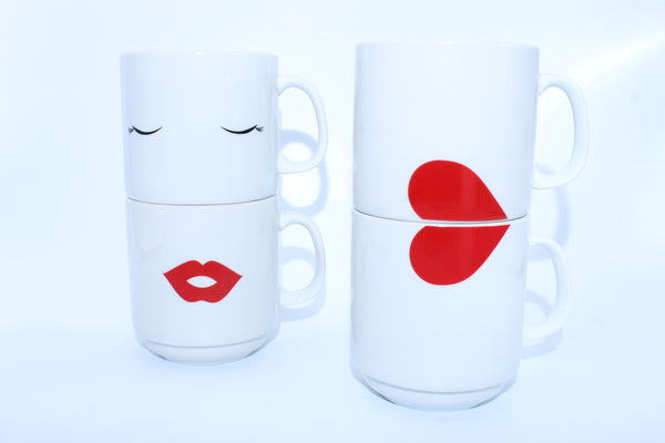 2-Piece Half Hearts- Decorative Stackable Coffee Cup Set