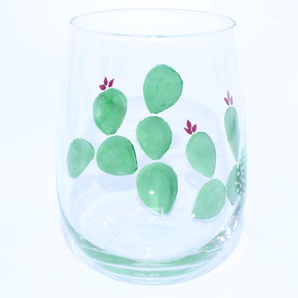 Prickly Cactus Hand Painted Wine Glass - Chateau Hi