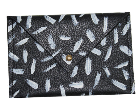 Indigo Snake Print Leather Makeup Bag
